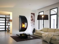 Gaia Fireplace with Glass Panels